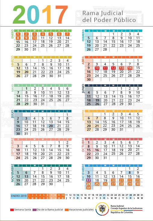 Calendario Colombia 2019 Octubre.Calendarios Rama Judicial